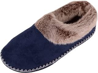 ABSOLUTE FOOTWEAR Womens Slip On Microsuede Slippers/Booties/Indoor Shoe with Decorative Binding