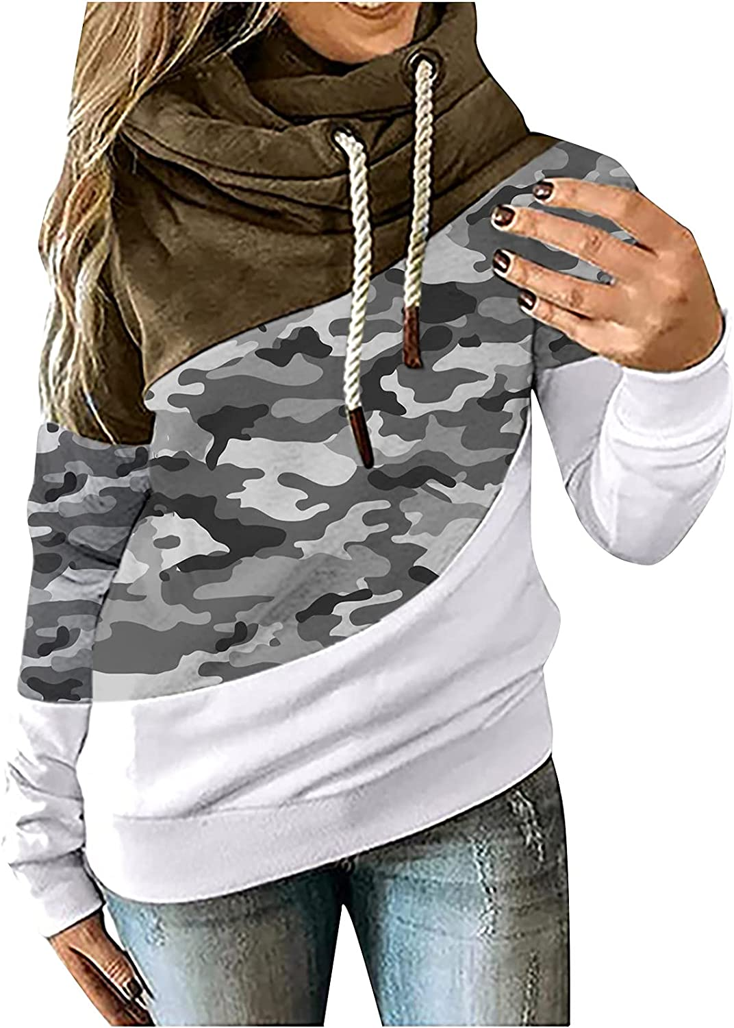 Bravetoshop Womens Hoodie Color Block Swea Neck Long Cowl Max Max 82% OFF 53% OFF Sleeve