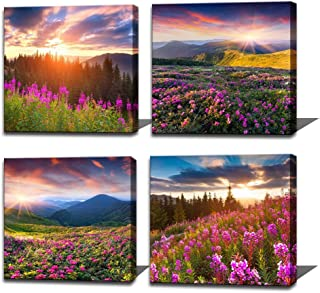 Noah Art-Modern Landscape Art Print Posters, Sun Light Over Mountains Wall Art Pictures of Flowers on Canvas Print, 4 Piece Sunrise Canvas Art Ready to Hang Outdoor Wall Art for Bathroom Wall Decor