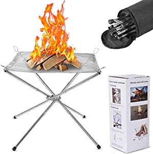 Outdoor Fire Pit for Camping, Portable & Foldable Stainless Steel Mesh Fireplace Fire Pit 16.5 Inch Camping Fire Bonfire Pit for Backyard, Patio, Garden, Picnic, Wood Burning, Carrying Bag Included