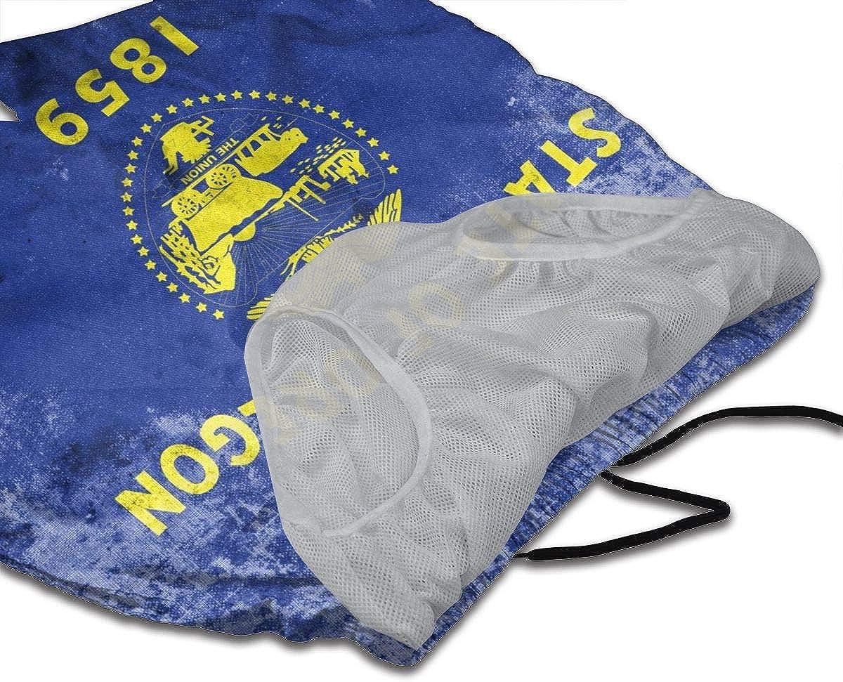 DASMUS Grunge Flag of Oregon State Mens Drawstring Beach Board Shorts Swim Trunks with Mesh Lining
