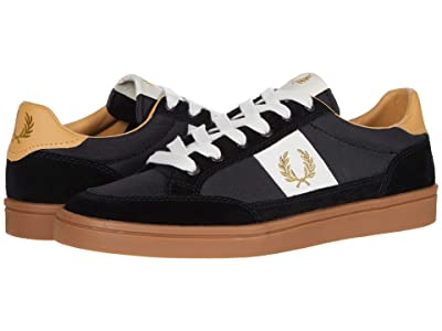 Fred Perry Deuce Poly/Suede/Leather (Black/Metallic Gold) Men