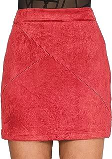 Simplee Apparel Women's High Waist Faux Suede Mini Short Bodycon Skirt