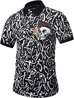 Men Short Sleeve Polo Shirt - Summer Casual Lapel Tops Print Neck Pullover Blouse
