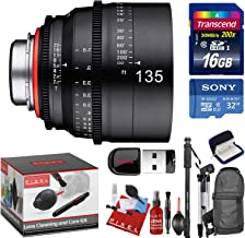 Rokinon Xeen 135mm T2.2 Lens with Sony E-Mount with Bonus Memory Cards, Tripod, Monopod, Cleaning Kit, and a Heavy Duty Extra Padded Lens Case