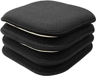 GoodGram 4 Pack Non Slip Ultra Soft Chenille Honeycomb Premium Comfort Memory Foam Chair Pads/Cushions - Assorted Colors (Black)