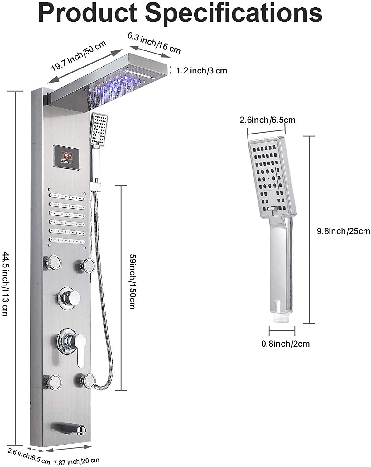 LED Shower Panel Tower System Shower Head Rain Massage System with 5 Body Jets Shower Column System Waterfall//Rainfall//Hand Shower//Body Jets Massage//Bathtub Spout and Temperature Display