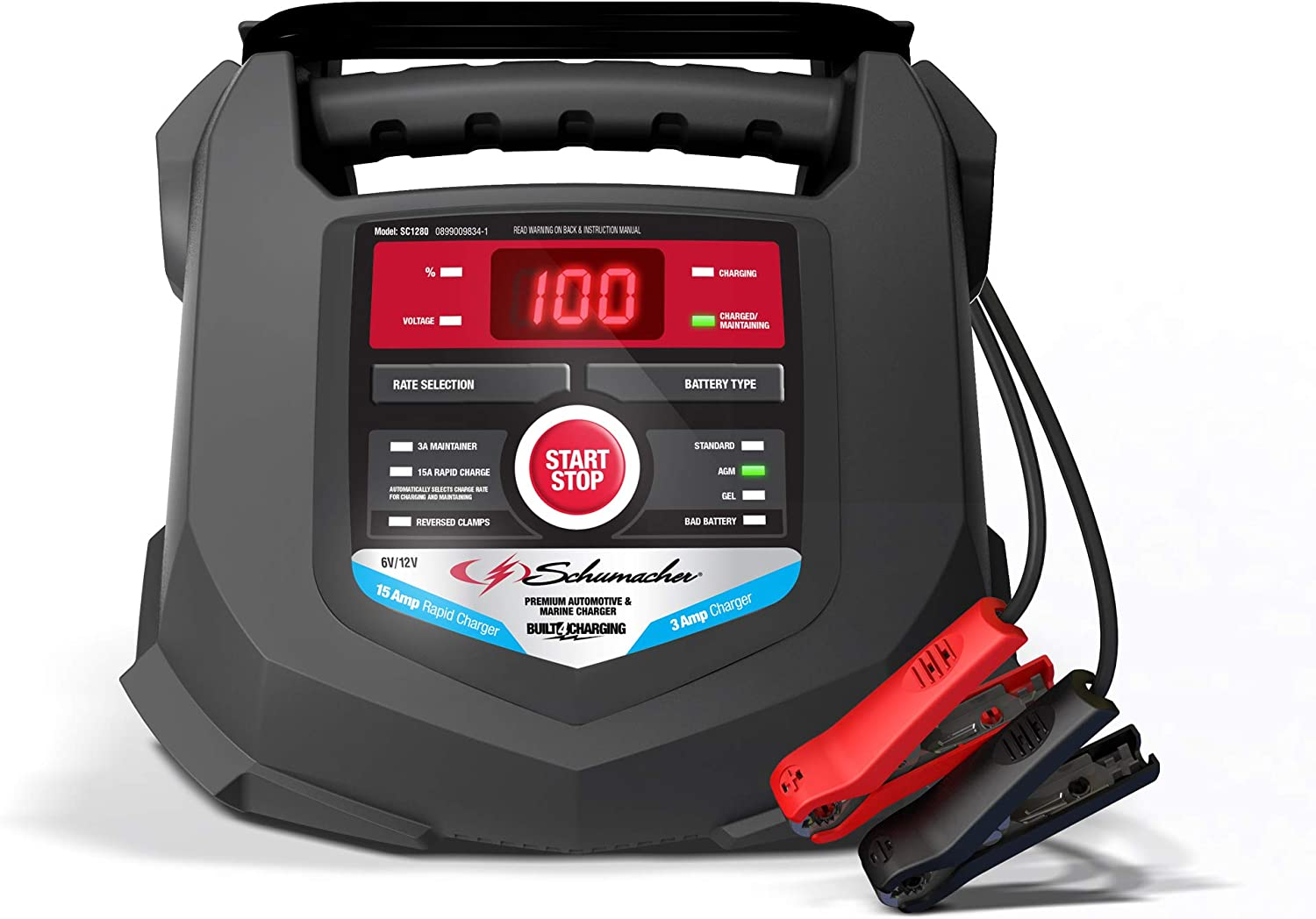 Schumacher Fully Automatic Battery Charger and Maintainer 15 Amp/3 Amp,...