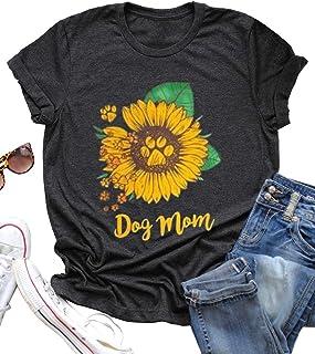 Dog Mom Tees for Women Letter Print Dog Lover Tees Sunflower Casual Short Sleeve Mom Gift Tops