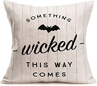 Qinqingo Halloween Decor Throw Pillow Covers Vintage Wood Board Style with Something Wicked This Way Comes Quote Saying Decorative Pillow Cases Cotton Linen Square Cushion Cover 18 x 18 Inch (Wicked)