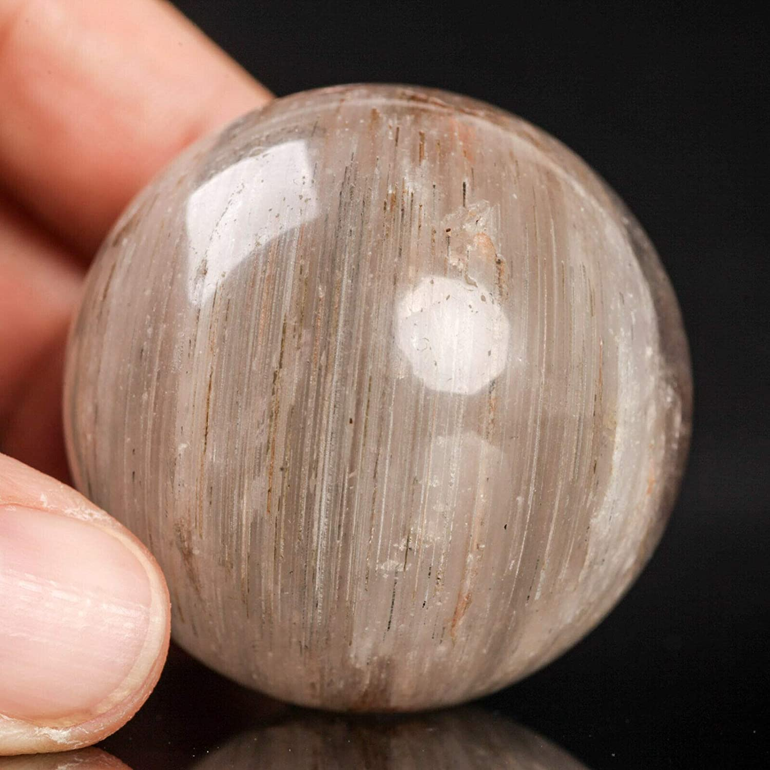 Quantity limited store 94g41mm Natural Rutilated Quartz Crystal Sphere Healing Cha Ball