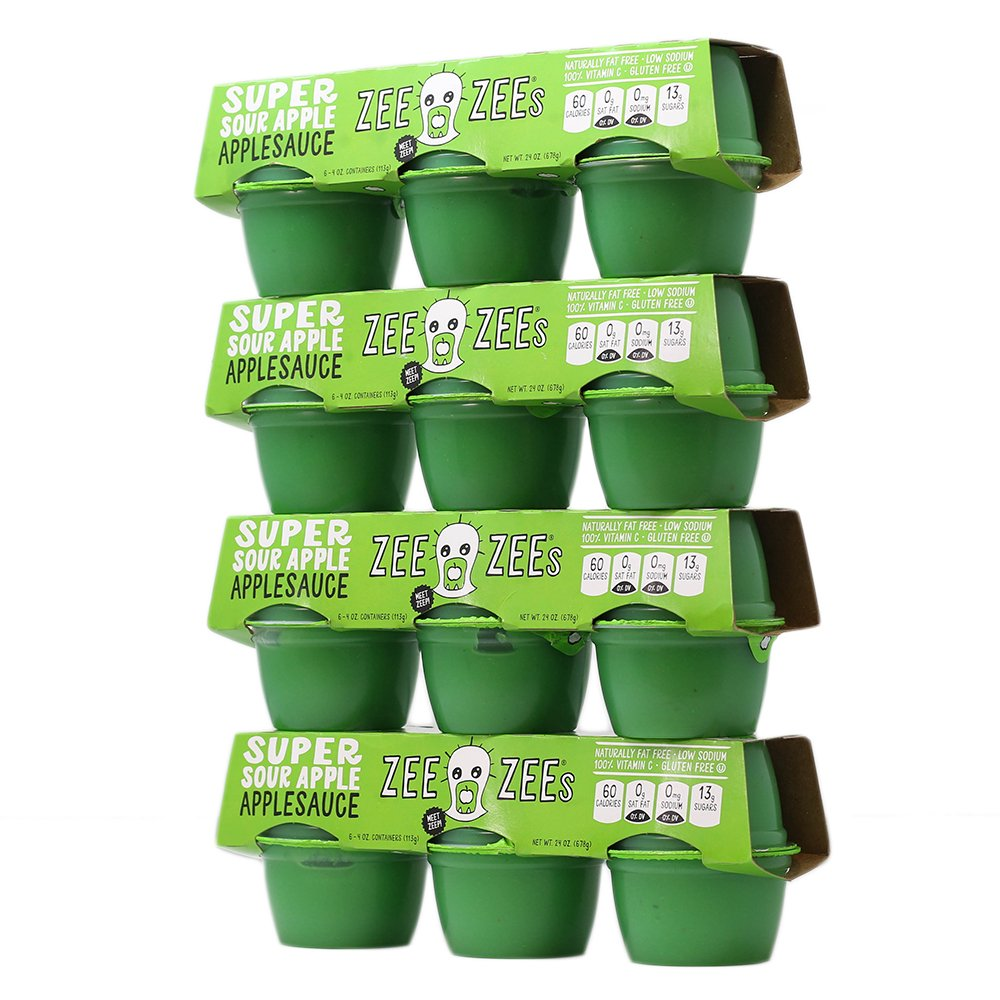Zee Zees Super Sour Apple Applesauce, 4 oz Cups, 24 pack