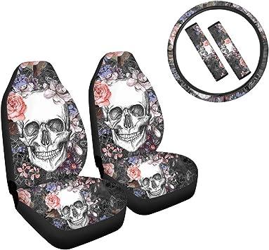 JEOCODY Skull Skeleton Car Seat Covers with Steering Wheel Cover Seatbelt Pads Full Set of 5,Fits Most SUV Sedan Truck: image