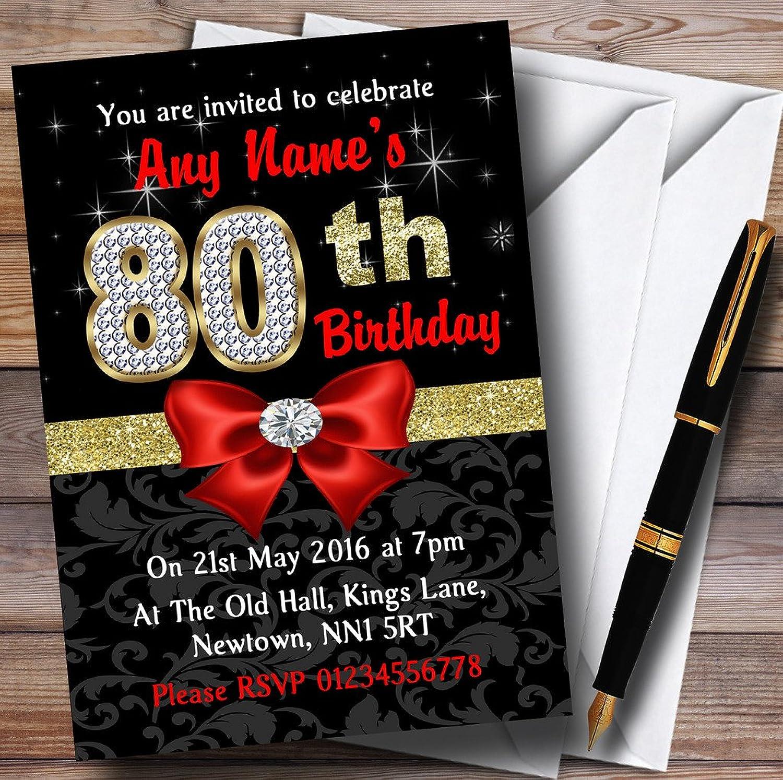 Red Black gold Diamond 80Th Birthday Party Personalised Invitations   Invites & Envelopes