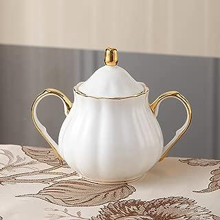 Ndht Bone Chinaティーカップ/コーヒーカップ& Saucersセットwith spoons- forホーム、レストラン、表示&休日のギフトまたは、ホワイトとゴールドエッジ Milk Jug and Sugar Pot NDHT180321005