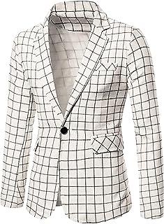 Lars Amadeus Men's Bussiness Casual Plaids Sport Coats Slim Fit One Button Check Dress Windowpane Blazer