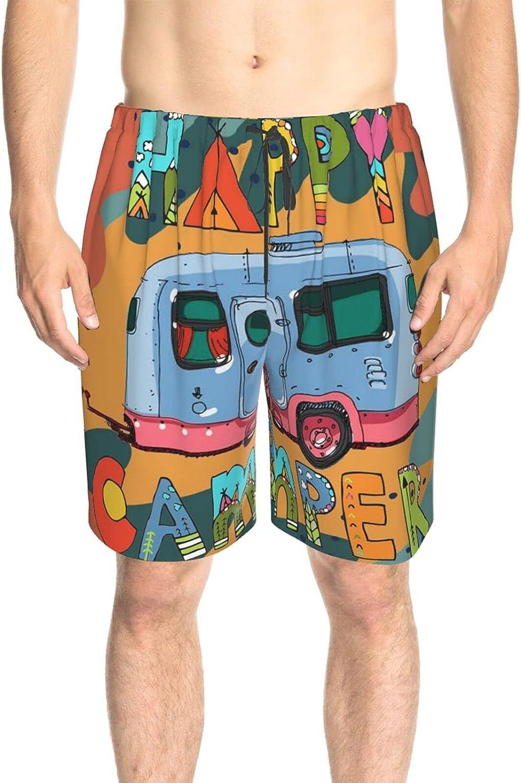 Men's Swim Trunks Happy Camper Bus Beachwear Board Shorts Drawstring Elastic Surf Beach Shorts with Lining