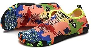 HommyFine Multicolor Men Women Water Shoes Barefoot Beach Pool Shoes Big Boys Girls Water Shoes Quick-Dry Aqua Yoga Socks ...