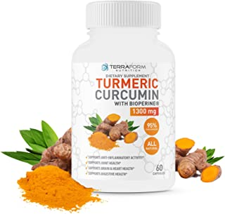 Turmeric Curcumin Root 1300mg with BioPerine & 95% Curcuminoids – Supports Joint & Knee Pain Relief, Brain Health, Heart Health & Digestive Health - Anti-Inflammatory and Antioxidant - 1 Month