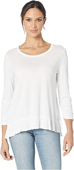 Luxe Cotton Modal Jersey 3/4 Shirred Sleeve Tee