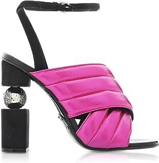Balmain Women's RN1C022LNVK4PA Fuchsia Leather Heels