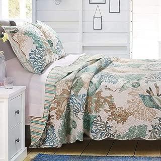 GH Beach Theme Ocean Coastal Quilt Twin/Twin XL Bedding Set - Nautical Seashell Beach Tropical Decor - All Season 2 Pieces Bedspread/Coverlet with Shams Green