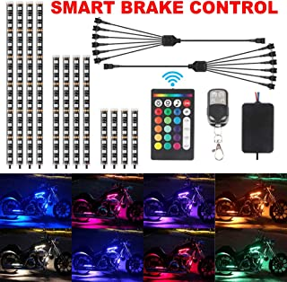 12Pcs Motorcycle LED Light Kit Strips,TACHICO Multi-Color Accent Glow Neon Ground Effect Atmosphere Smart Brake control Lamp with Wireless RF Remote Controller for Harley Davidson Honda Suzuki