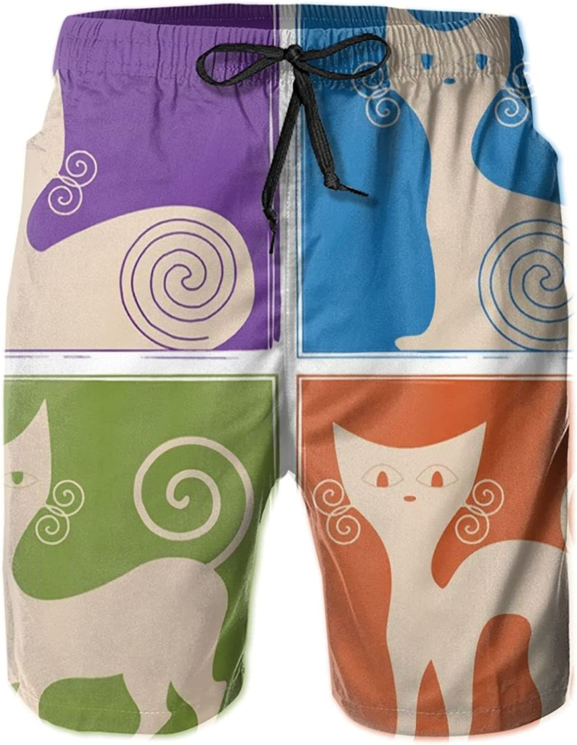 Hello Gorgeous Men's Beach Cartoon Cats Four Color Background Surfing Board Shorts Casual Swim Trunks Pants