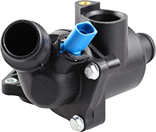 BOXI Thermostat Housing Kit Assembly/Water Outlet with Sensor for 2002-2006 Audi A4 / 2002-2005 A4 Quattro 1.8L / 06B121111K