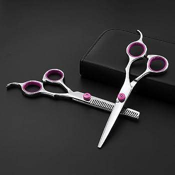 Set de tijeras de peluquería, tijeras de peluquero de 6 pulgadas incl. Tijeras de peluquero de corte agudo y preciso, estuche y peine negro: Amazon.es: Deportes y aire libre