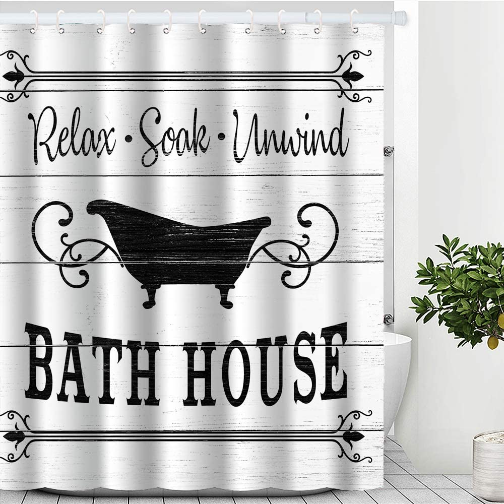 New item Cute Farmhouse Bathroom Rules Inspirationa Shower Fabric Curtain Safety and trust