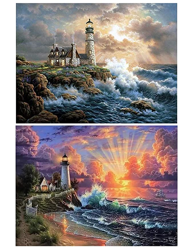 5D DIY Diamond Painting Full Drill Paint by Number Kits Diamond Art Kit for Home Wall Decor (Tower2 Pack)