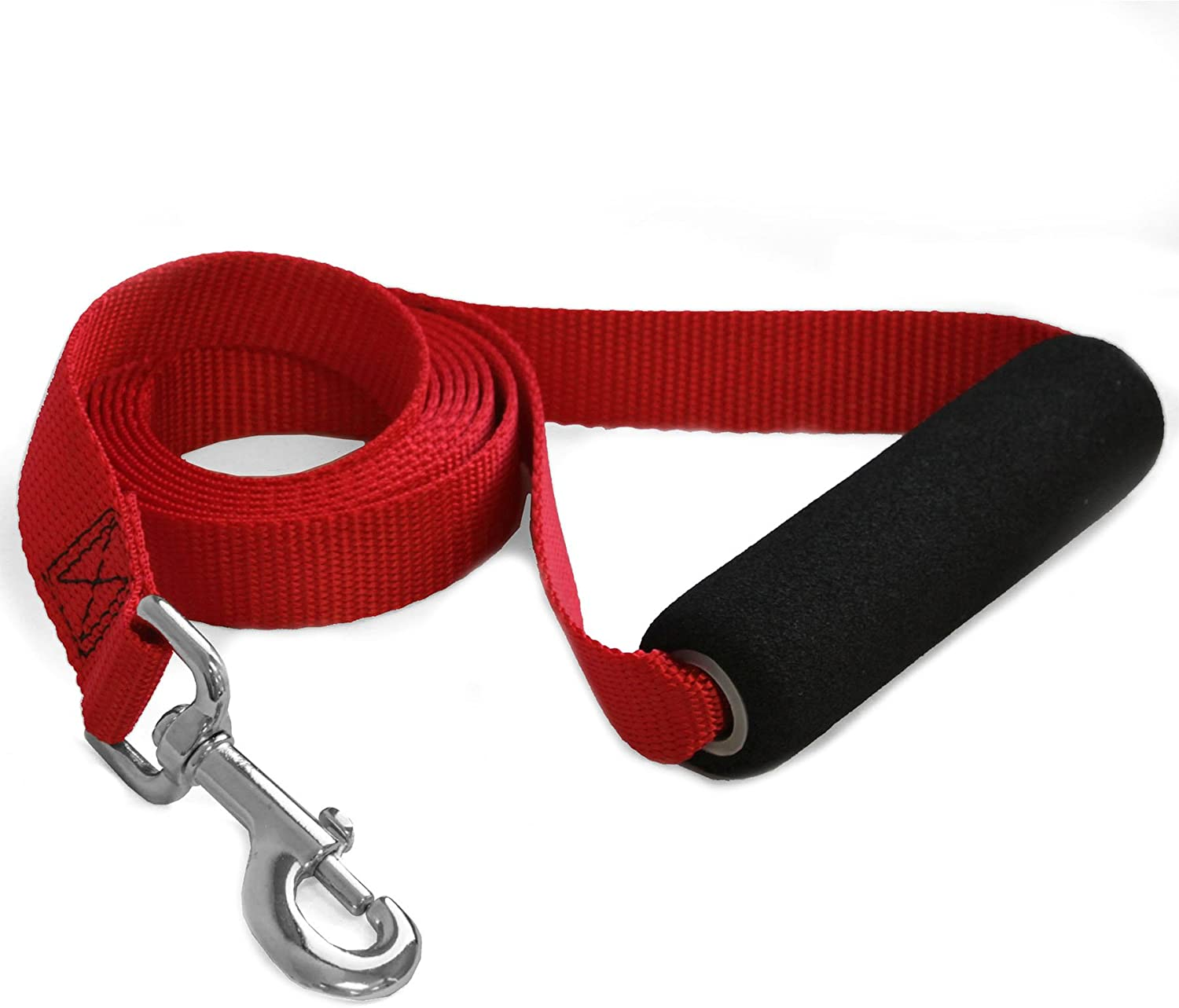 Majestic Pet 1Inch x 4Feet Easy Grip Handle Leash, Red