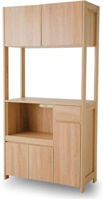 LOWYA キッチン 収納 食器棚 レンジ台 上段3段階・下段2段階可動 スライド棚 ナチュラル
