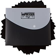 """Black Heat Transfer Vinyl - 10 Pack of 12""""x10"""" Black HTV Sheets Including Storage case and Instructions (Black - 10 Sheets)"""