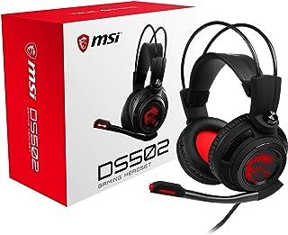 MSI DS502 - Cuffia Gaming 7.1 Over Ear con Microfono, LED Rosso, Collegamento USB, Controller Volume/Muto su Cavo