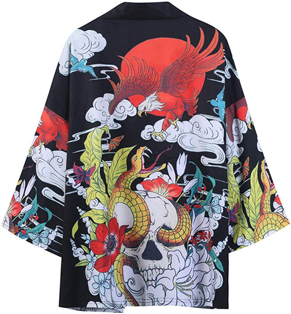 Kimono for Men, F_Gotal Men Kimono Floral Painting Cardigan Cover Up Open Front Shawl Unisex Robe Jackets Drape Cape