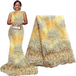 8ff902bfc4e pqdaysun 5 Yards African Lace Fabrics Nigerian French Beaded Tulle Fabric ( yellow)