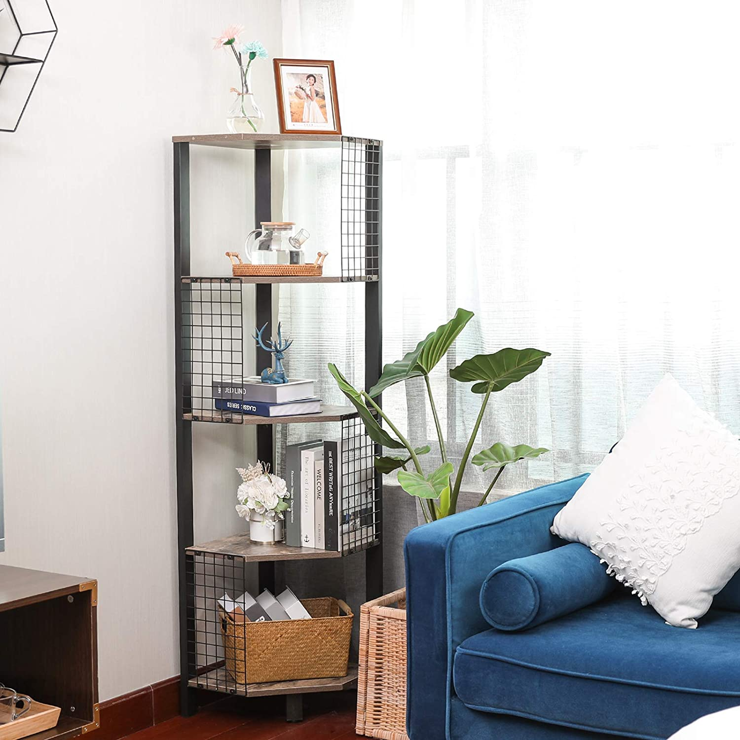 X-cosrack 5 Tier Corner Shelf with Grid Plate, Industrial Corner Storage Display Rack Small Bookcase Plant Stand for Bedroom, Living Room, Bathroom, Kitchen, Home Office, 56.5 Inch Tall, Rustic Brown