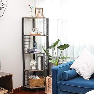 X-cosrack Étagère d'angle industrielle à 5 niveaux avec grille - Pour chambre à coucher, salon, salle de bain, cuisine, bu...