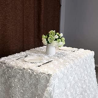 B-COOL 3d Floral Tablecloth Rectangular 60 x102 Inches White Tablecloth Rosette Fabric Rosette Florals Satin Tablecloths