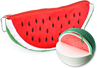 Ace Select Stationery Set with Watermelon Shape Large Pencil Zipper Case Pencil Bag Sketch Pad Note Pad for Kids