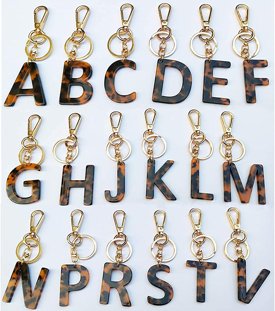Letter Key Chains Accessories for Women and Girls, Gold Initial Key Ring Acetate Leopard Print Pendant for Car Keys