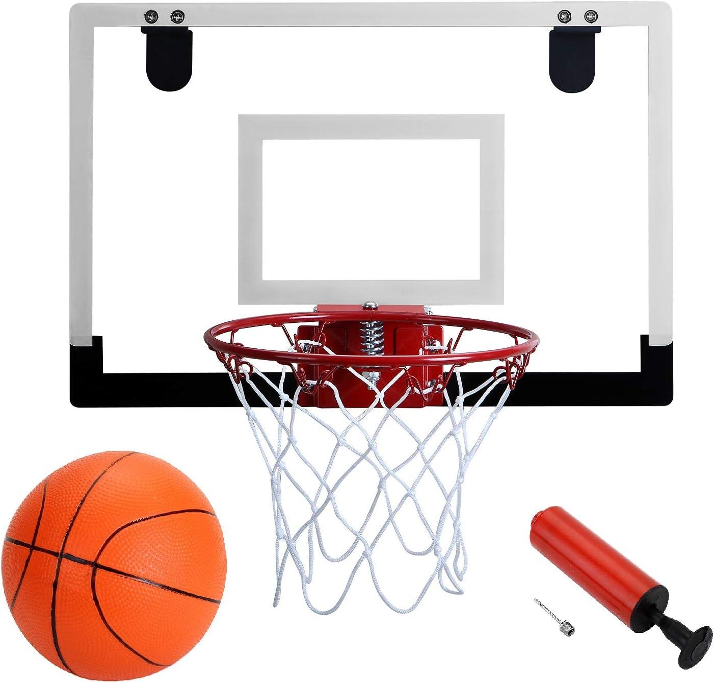 The Door//Wall Indoor Mini Basketball Hoop with Breakaway Steel Rim Includes 5
