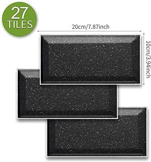 ENCOFT 27 Piezas Pegatinas de Baldosas Pegatinas de Azulejos Auto-Adhesivo Negro Pegatina Pared Revestimiento Border Decorativo Impermeable para Cocina y Baño (20x10cm)