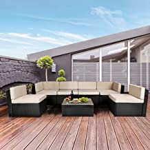 U-MAX 7 Piece Outdoor Patio Furniture Set, Black PE Rattan Wicker Sofa Set, Outdoor Sectional Furniture Chair Set with Cus...