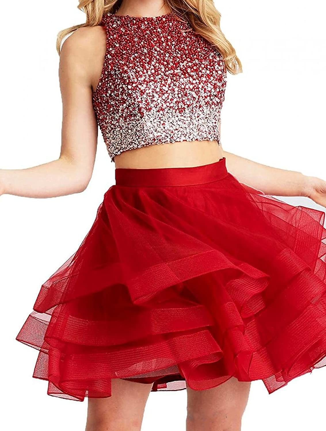 Dannifore 2 Pieces Scoop Neck Beaded Homecoming Dresses Keyhole Back Short Cocktail Party Dress