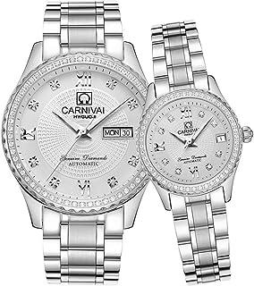 Diamond Couple Mechanical Watch Stainless Steel Sapphire Glass Watches Romantic Set 2