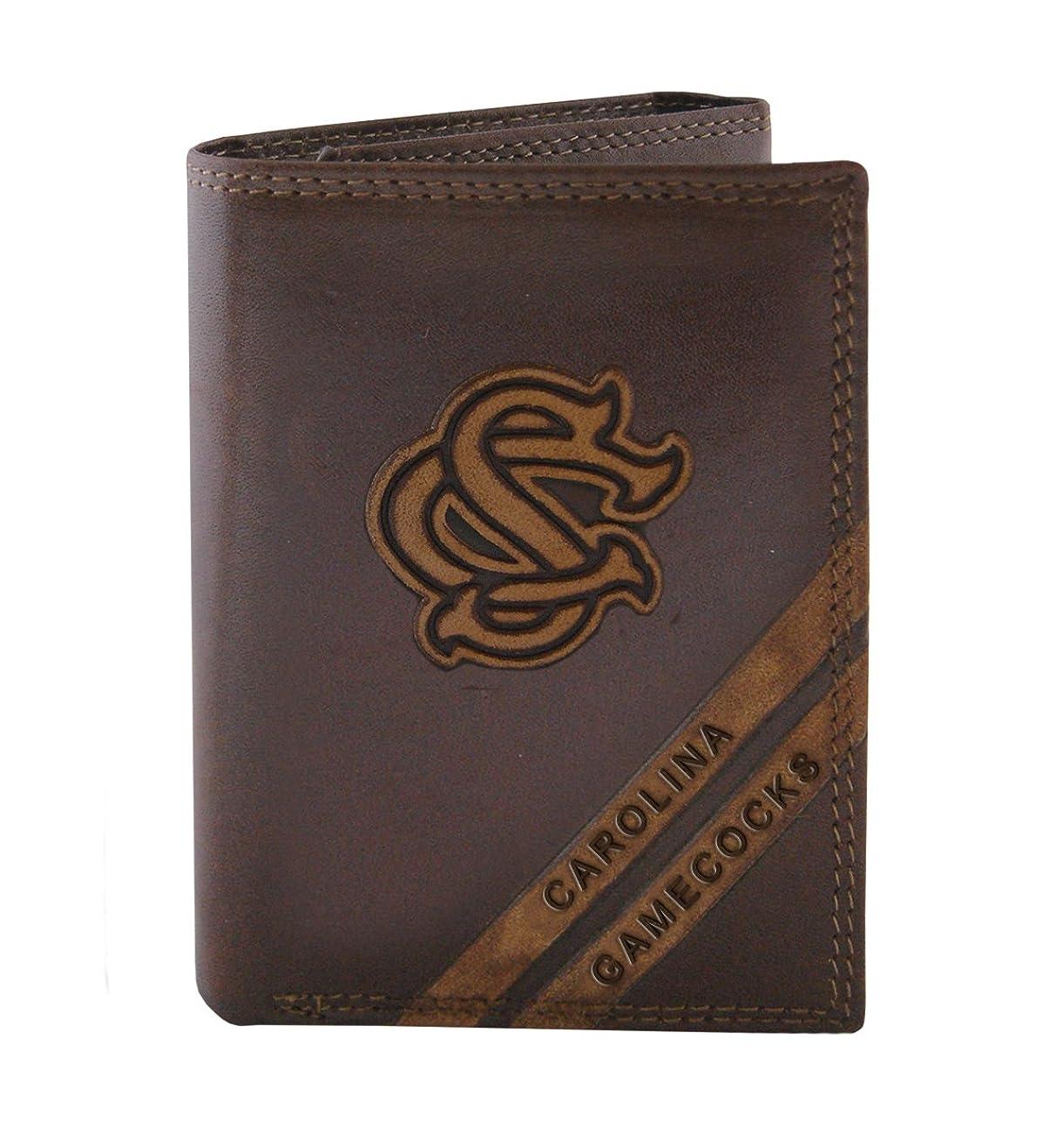 処理強調方程式NCAA South Carolina Gamecocks zep-pro pull-upレザー三つ折りエンボス財布、ブラウン