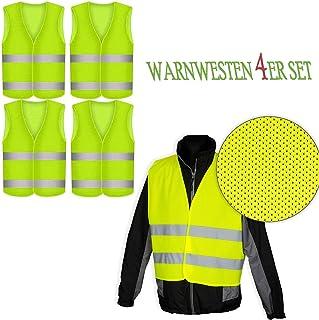 Robex Warnwesten 4er Set GELB PN   EN 471 Zertifiziert Reflektorstreifen und Klettverschluss